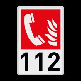 Brand bord F006 - Telefoon voor brandalarm met tekst F006 Telefoon - Brandweer, 112, brandtelefoon, brandalarm, F006, B05, redding, evacuatie