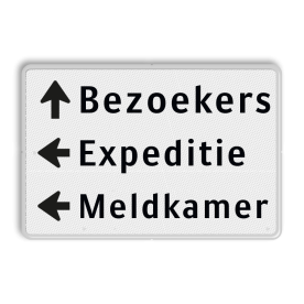 Routebord 3 regelig + pijl links - eigen tekst routebord, camping, eigen terrein, bezoekers