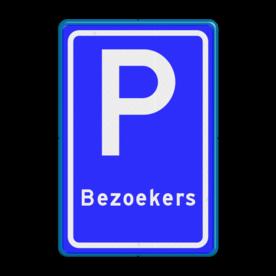 Verkeersbord Parkeerplaats bezoekers. Parkeergelegenheid alleen bestemd voor voertuigcategorie, of groep voertuigen, die op het bord is aangegeven Verkeersbord RVV E08s - Parkeerplaats Bezoekers - BT10 BT10 Parkeren, bezoekers, E08