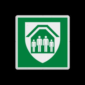 Product E021 - Schuilplaats Verzamelplaats bord BHV Schuilplaats Vluchtroute E021 Schuilen, schuilplek, Shelter, onderduiken, veilige plek, , vluchtroutebord, reddingsmiddelbord, evacuatie, evaluatiebord, vluchtroutebord, reddingsmiddelbord, evacuatie, evacuatiebord, veiligheidspictogram, veiligheidsbord, Nooduitgang pictogrammen, Vluchtrouteaanduiding, Verzamelplaats pictogram, Reddingspictogram, nooduitgang symbool, teken, icoon, symbolen, reddingsborden, bhv bord