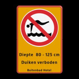 Informatiebord Hier is duiken verboden Informatiebord - Duikverbod + tekst Zwembad, zwemmen, duik, duiken, bad, buitenbad, diepte