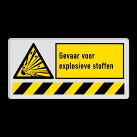 Waarschuwingsbord W002 - Explosiegevaar met vaste tekst W002 Explosie, gevaarlijke stoffen, W002, W02, W002 - Gevaar voor explosieve stoffen