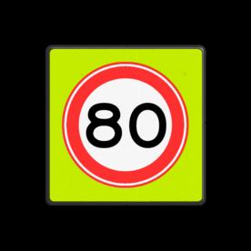 Verkeersbord Maximum toegestane snelheid 80 kilometer per uur Verkeersbord RVV A01-080f - Maximum snelheid 80 km/h A01-080f snelhiedsbord, snelheidbord, 50 km bord, snelheid, zonebord, einde, 50 km per uur, A1