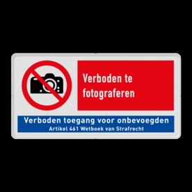 Veiligheidsbord - Verboden te fotograferen - P029 + verboden toegang P029 Verboden, camera, foto, fotograferen, niet, toegestaan, verboden, onbevoegden, geen, toegang, nen, iso, richtlijnen, veiligheid, symbolen, pictogrammen, V15, P029