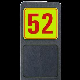 Huisnummerpaal met BORD Fluor Modern - klasse 3 buitengebied, huisnummer, nummer, huis, buiten, gebied, paal, Modern, huisnummerbord, Huisnummerpaal, Huisnummerpalen