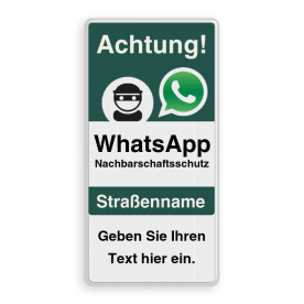 WhatsApp Achtung Nachbarschaftsschutz Verkehrsschild mit Text Whats App, WhatsApp, watsapp, preventie, attentie, buurt, L209, neighborhood, protection, Attention