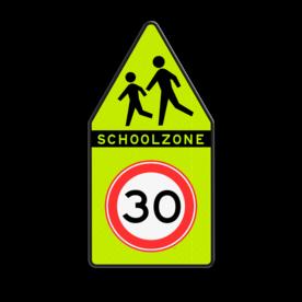 SCHOOLZONE-bord Spelende kinderen + Maximumsnelheid SCHOOLZONE-bord 500x1000mm met maximumsnelheid school, spelende kinderen, matig uw snelheid, overstekende kinderen, J21, 10km, L303