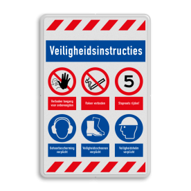 Veiligheidsbord   6 symbolen + banners veiligheidsbord, bewerken, gevaar, licht, ontvlambaar, vuur, vlammen, waarschuwing, milieu, explosie, reflecterend, helm, verplicht, gehoorbescherming, combinatie, laarzen, schoeisel, roken, snelheid, stapvoets, verboden, toegang, onbevoegden, bouwterrein, betreden,eigen, risico