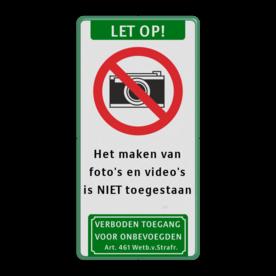 Verkeersbord Verboden te fotograferen Verkeersbord C01-camera + tekstvlak + pictogram soepbord, bellen verboden, mobiele telefoon, uitschakelen, mobiel bellen, verboden, C1, foto,