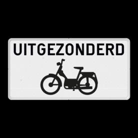 Onderbord uitgezonderd brommers Onderbord België M2 - Uitgezonderd brommers M2 wit bord, fiets, brommer, uitgezonderd, uitzondering, OB54, Excepte