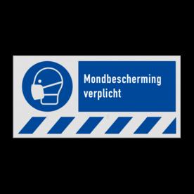 Gebodsbord M016 - Mondbescherming verplicht M016 veiligheid, bord, nen, richtlijnen, iso, 7010, instructies, gebod, mond, bescherming, kapje, verplicht