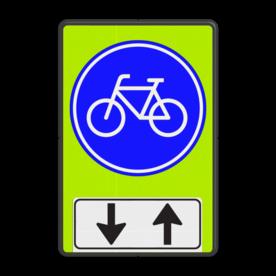 Verkeersbord Verplicht fietspad, u kunt tegenliggers verwachten Verkeersbord RVV G11 - OB505 - Verplicht fietspad met tegenliggers - fluor achtergrond G11-OB505 Fluor geel-groen / zwarte rand, (RAL 9005 - zwart), G11, Onderbord OB505 pijlen omhoog - omlaag