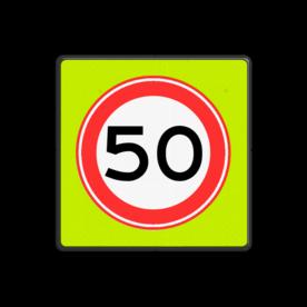 Verkeersbord Maximum toegestane snelheid 50 kilometer per uur Verkeersbord RVV A01-050f - Maximum snelheid 50 km/h A01-050f snelhiedsbord, snelheidbord, 50 km bord, snelheid, zonebord, einde, 50 km per uur, A1