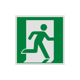 Product Nooduitgang rechts Pictogram E002 - Nooduitgang rechts E002 Nooduitgang, vluchtroute, route, deur, rechts, vluchtroutebord, reddingsmiddelbord, evacuatie, evaluatiebord