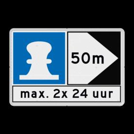 Scheepvaartbord Aanmeren toegestaan aan de zijde van de pijl + richtingaanduiding met zijborden. Zijborden of puntborden worden links of rechts aan een hoofdteken toegevoegd. Scheepvaartbord BPR E. 7 + F.2a + F.3 aanmeren, schip, E7, aanleggen, BPR, F2a, gebodstekens, gebodsborden, waterweg, waterwegen, scheepvaarttekens, verkeerstekens, richting