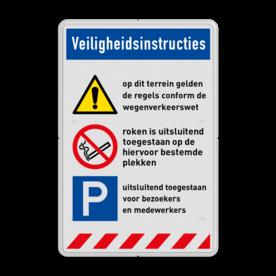 Veiligheidsbord | 3 banners + 3 symbolen met tekst Wit, (RAL 9016 - wit), PAS OP!, Terrein betreden op eigen risico, Verboden toegang Art 461, , W002 - Gevaar voor explosieve stoffen, P003 - Vuur, open vlam en roken verboden, M003 - Gehoorbescherming verplicht