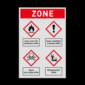Veiligheidsbord | Koptekst met 4 symbolen veiligheidsbord, bewerken, gevaar, licht, ontvlambaar, vuur, vlammen, waarschuwing, milieu, explosie, reflecterend