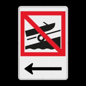 Scheepvaartbord Voorbijlopen verboden Scheepvaartbord BPR A.x boothelling + txt water, A2