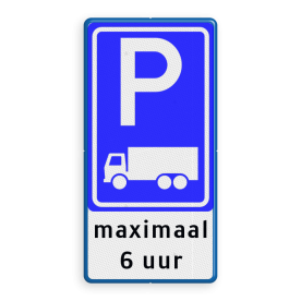 Verkeersbord parkeerplaats vrachtverkeer + eigen tekst Verkeersbord RVV E08c - 3txt - Parkeerplaats vrachtwagens + uitzondering E08c-OB105 E9