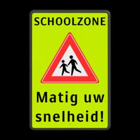 Verkeersbord Spelende kinderen + school - matig uw snelheid Verkeersbord SCHOOLZONE RVV J21 matig uw snelheid school, spelende kinderen, matig uw snelheid, overstekende kinderen, let op, pas op, J21, geel