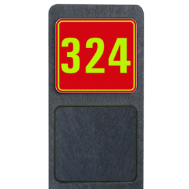 Huisnummerpaal met BORD Fluor Modern - klasse 3 buitengebied, huisnummer, nummer, huis, buiten, gebied, paal, Modern, huisnummerbord