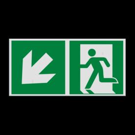 Product Nooduitgang links trap naar beneden Pictogram E001 - Nooduitgang links trap naar beneden E001 Nooduitgang, vluchtroute, route, deur, rechts, vluchtroutebord, reddingsmiddelbord, evacuatie, evaluatiebord