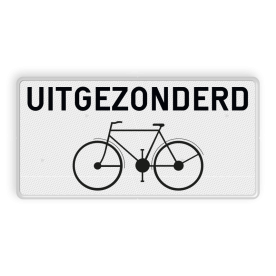 Onderbord uitgezonderd fietsers Onderbord België M2 - Uitgezonderd fietsers M2 wit bord, fiets, uitgezonderd, excepte, uitzondering, OB54