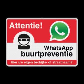 WhatsApp Attentie Buurtpreventie Informatiebord 01 - L209wa-r L209wb Whats App, WhatsApp, watsapp, preventie, attentie, buurt, L209