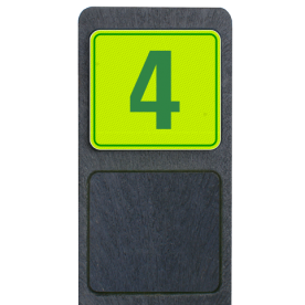 Huisnummerpaal met bord fluorescerend + reflecterend 119x109mm buitengebied, huisnummer, nummer, huis, buiten, gebied, paal, Modern, huisnummerbord, Huisnummerpaal, Huisnummerpalen