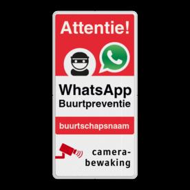 WhatsApp Attentie Buurtpreventie Informatiebord 03 - L209wa-r Whats App, WhatsApp, watsapp, preventie, attentie, buurt, L209, Camerabewaking, wijkpreventie, straatpreventie, dorpspreventie