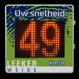 Snelheidsdisplay LICHTMAST - LED + paneel reflecterend in huisstijl