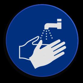 Product Handen wassen verplicht Veiligheidspictogram - Handen wassen verplicht - M011 NEN7010, veiligheidspictogram, handen wassen, verplicht