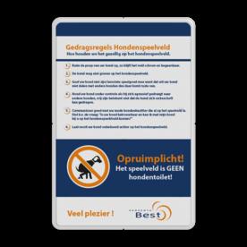 Informatiebord Hondenspeelveld + uw eigen opdruk logobord, eigen ontwerp, schoolplein, speciale borden