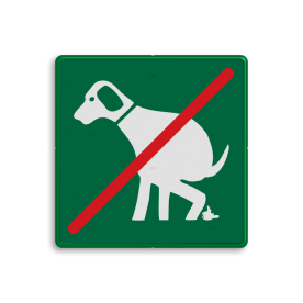 Informatiebord - geen honden uitlaten RAL 6024 - groen, poep