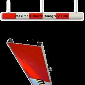 Portaalligger 200mm C profiel rood/wit + tekst parkeergarage, doorrijhoogte portaal, hoogtebalk, C19-vrij invoerbaar, C19, maximale, doorrijhoogte, meter, Doorrijhoogte, Hoogte, Begrenzer, Beperking, parkeergarage, Portaal, L01