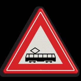 Verkeersbord U nadert een tram(kruising) Verkeersbord RVV J14 - Vooraanduiding tramkruising J14 let op, pas op, tram, spoor, rails, J14