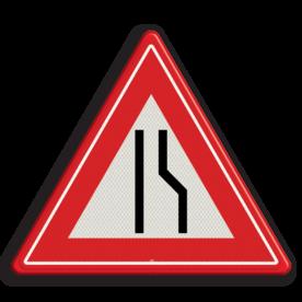 Verkeersbord Rijbaanversmalling rechts / naar links uitwijken. Verkeersbord RVV J18 - Vooraanduiding rijbaanversmalling naar links J18 let op, pas op, opstakel, J18