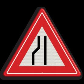 Verkeersbord Rijbaanversmalling links / naar rechts uitwijken. Verkeersbord RVV J19 - Vooraanduiding rijbaanversmalling naar rechts J19 let op, pas op, opstakel, J19