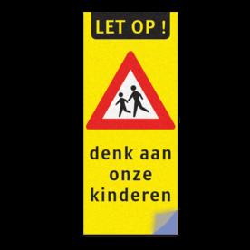 Product LET OP ! + spelende kinderen + denk aan onze kinderen Kliko sticker RVVJ21 35x80 cm + tekst school, spelende kinderen, matig uw snelheid, overstekende kinderen, J21, L303