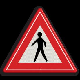 Verkeersbord U nadert een niet gemarkeerde voetgangers oversteekplaats Verkeersbord RVV J23 - Vooraanduiding voetgangers-oversteekplaats J23 let op, pas op, wandelaars, J23