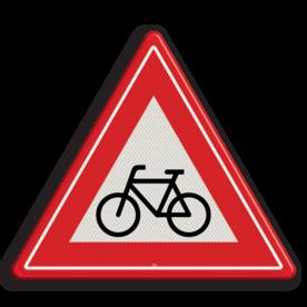 Verkeersbord U nadert een (brom)fietsers oversteekplaats Verkeersbord RVV J24 - Vooraanduiding oversteekplaats (brom-)fietsers J24 let op, pas op, fietsen, brommer, oversteken, J24