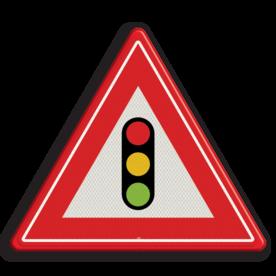 Verkeersbord U nadert verkeerslichten Verkeersbord RVV J32 - Vooraanduiding verkeerslichten J32 verkeerslichten, stoplicht, pas op, let op, verkeerslicht, J32