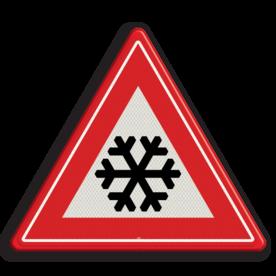 Verkeersbord Glad wegdek als gevolg van ijzel of sneeuw Verkeersbord RVV J36 - Vooraanduiding ijzel of sneeuw J36 glade, slechte, ijsvorming,