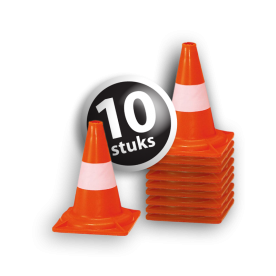 Afzetkegel/pylon 300mm - set van 10 stuks - oranje/wit pion, pionnen, kegels, pilon, oranje, hoedje, pylon