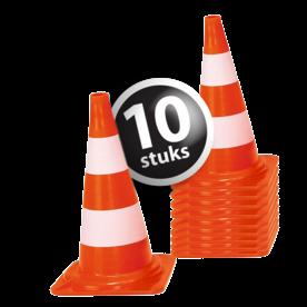 Afzetkegel/pylon 500mm - set van 10 stuks - oranje/wit pion, pionnen, kegels, pilon, oranje, hoedje, pylon, pylonnen