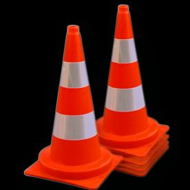 Afzetkegel 750mm - set van 5 stuks - oranje/wit reflecterend pion, pionnen, kegels, pilon, oranje, hoedje, afzetkegel, verkeerskegel, pylon