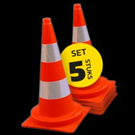 Afzetkegel 750mm - set van 5 stuks - oranje/wit reflecterend pion, pionnen, kegels, pilon, oranje, hoedje