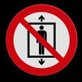 Product Geen lift gebruiken Veiligheidspictogram - Verboden deze lift te gebruiken voor personen - P027 lift, trap, verboden, mensen