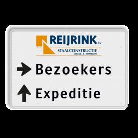 Routebord 2 regelig met logo + pijl links - eigen tekst routebord, camping, eigen terrein, bezoekers