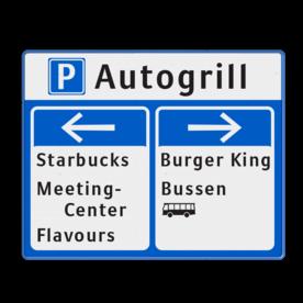 Product ANWB stijl Bewegwijzering 1000x800mm  blauw/wit ANWB stijl zelf tekstbord maken, tekst invoeren, blauw bord